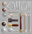 realistic metal door handles isolated vector image vector image