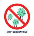 red stop coronavirus sign - covid-19 bacteria vector image