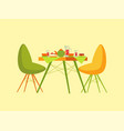 restaurant table with dessert dishes and beverage vector image vector image