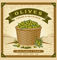retro olive harvest label with landscape vector image vector image