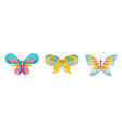 set colorful butterflies insects cartoon vector image vector image