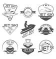 set logo jet ski scooter vector image vector image