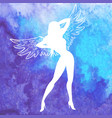 silhouette of sexy woman with wings vector image vector image