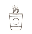 sketch draw plastic cup coffee portable vector image