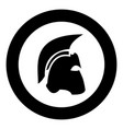 spartan helmet icon black color in circle vector image vector image
