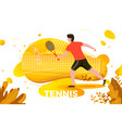 sporty man playing tennis vector image vector image