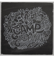 summer camp hand lettering and doodles elements vector image vector image