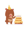 surprised little bear in party hat standing near vector image