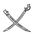 turkish shamshir sword rare fine icon doodle hand vector image