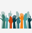 voting hand raised up election concept arms in vector image vector image