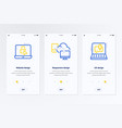 website responsive ux design vertical cards with vector image vector image