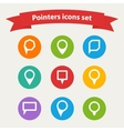 pointer white icons set various forms vector image