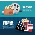 movie cinema festival banner info design vector image