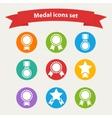 white medalaward icons set vector image
