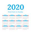 2020 calendar start on sunday vector image vector image