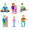 Active leisure people icons set vector image vector image