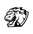 angry godzilla black and white logo for sport vector image