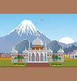 arabian palace with mountains in the background vector image vector image