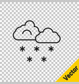 black line cloud with snow icon isolated on vector image vector image