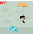 Business man with parachute on the target - vector image