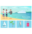 business meeting men and beach vector image