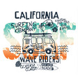 california west coast surfer van vector image vector image