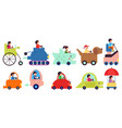cartoon child transportation characters people vector image vector image
