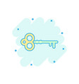 cartoon key icon in comic style secret keyword vector image