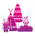 color silhouette rabbit and owl animal with camp vector image