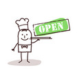 cook chef with open sign vector image