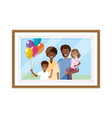 couple with children photo frame vector image