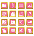 criminal activity icons pink vector image vector image