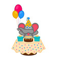 cute elephant with a party hat a cake and vector image