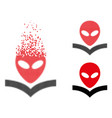 dispersed dot halftone alien knowledge book icon vector image