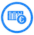 Euro barcode rounded icon rubber stamp