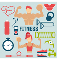 flat design fitness with guy girl and web icons vector image