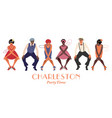 four flapper girls and two man wearing retro vector image vector image