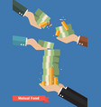 fund manager holding cash money vector image vector image