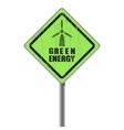 Green energy old scratched street sign vector image vector image