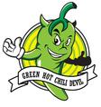 green hot chili devil cartoon vector image vector image