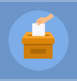 hand puts voting ballot in ballot box election vector image