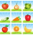 icon set of vegetables and fruits on scenic vector image