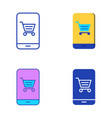 mobile shopping icon set in flat and line style vector image vector image