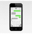 mockup mobile messenger on smartphone vector image vector image