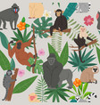 monkeys and tropical leaves and trees vector image