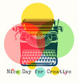 mono colors retro poster with typewriter vector image