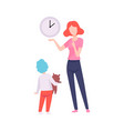 mother teaching son to read time mom spending vector image vector image