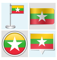 Myanmar flag - sticker button label flagstaff vector image vector image