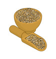 oat in wooden bowl and spoon groats in wood dish vector image vector image