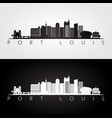 port louis skyline and landmarks silhouette vector image vector image